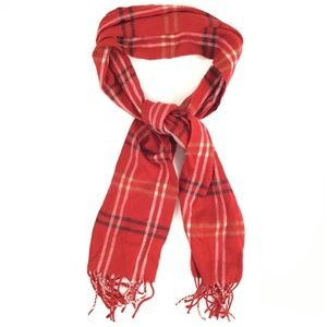 Cejon Italian Scarf Women's OS Red Plaid Fringes